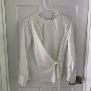 NWT topshop white satin blouse with front tie us2